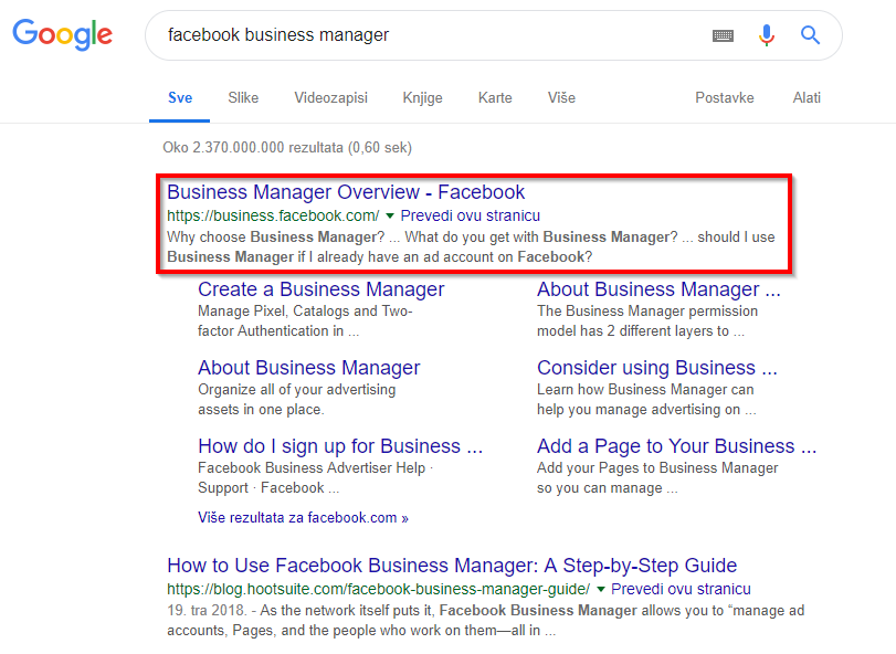 Google tražilica-Facebook Business Manager